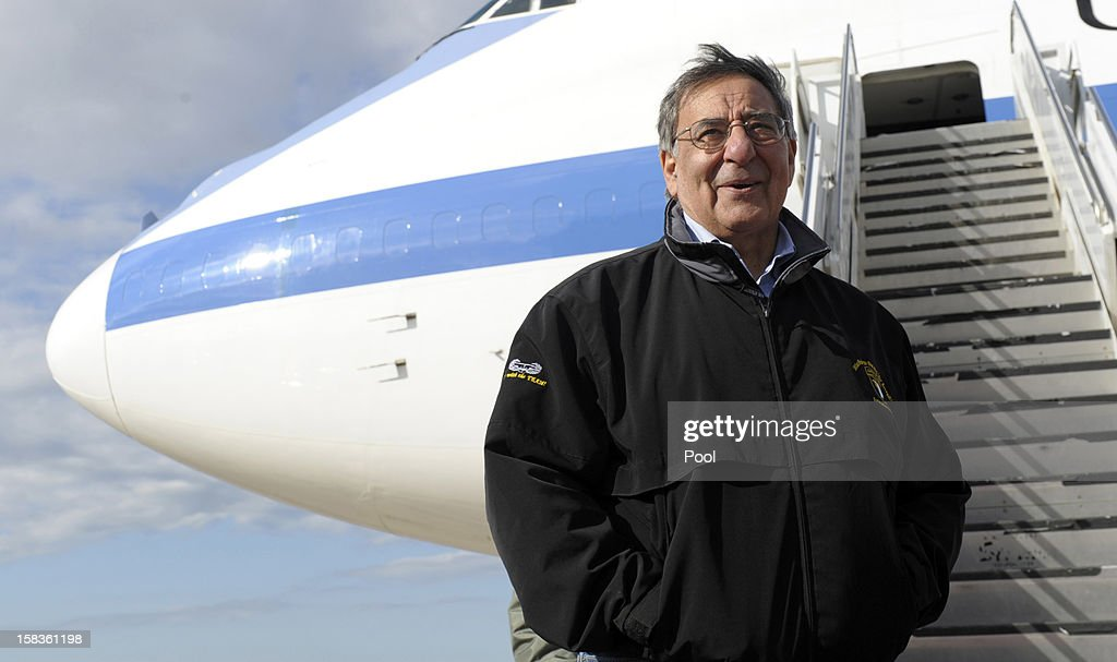 US Defense Secretary Leon Panetta before boarding his plane at Incirlik Air Base on December 14, 2012 in Incirlik, Turkey. Following the US Defense Secretary's meeting with Afghan president Hamid Karzai and top Afghan officials during his three-day visit to Afghanistan, Secretary Panetta met with US troops and commanders, as the US looks towards a decision on troop numbers once the US-led coalition ends in late 2014.