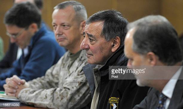 S Defense Secretary Leon Panetta flanked by Marine Gen John R Allen commander of International Security Assistance Force and US Ambassador to...