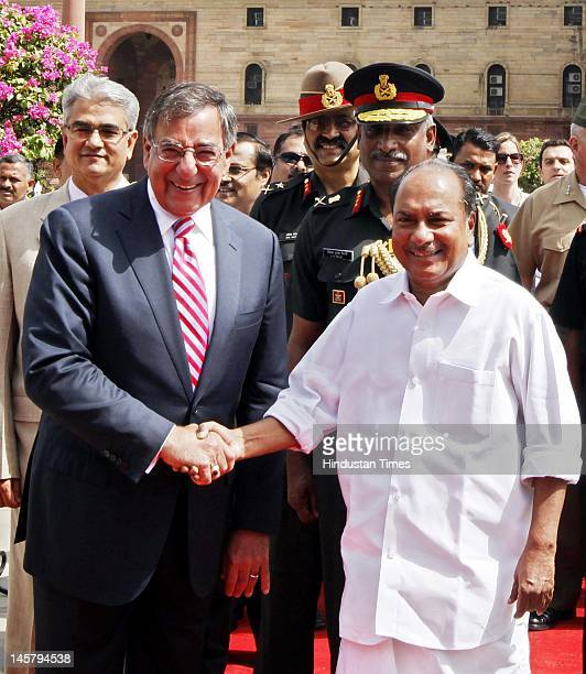 S Defense Secretary Leon Panetta is welcomed by India's Defense Minister AK Antony during his ceremonial reception at Defense Ministry on June 6 2012...