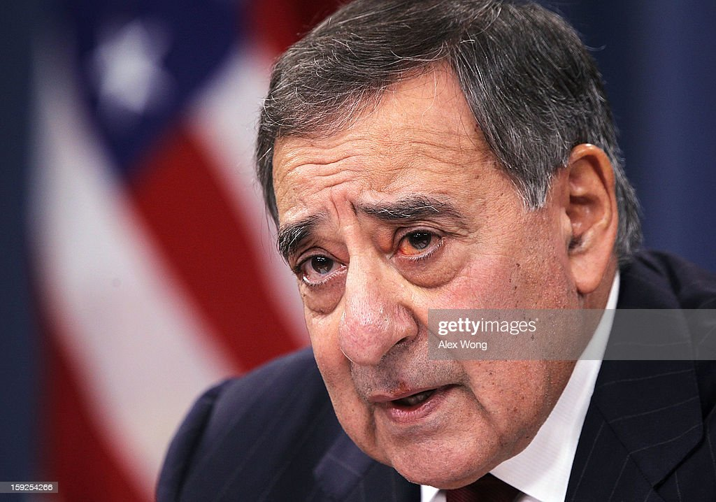 U.S. Defense Secretary Leon Panetta participates in a news briefing at the Pentagon January 10, 2013 in Arlington, Virginia. Panetta announced that the Pentagon will begin reversible sequester preparations including pulling back military maintenance not critical to immediate missions, freezing civilian hiring and other steps against a possible $45 billion spending cut that could be in effect in March.