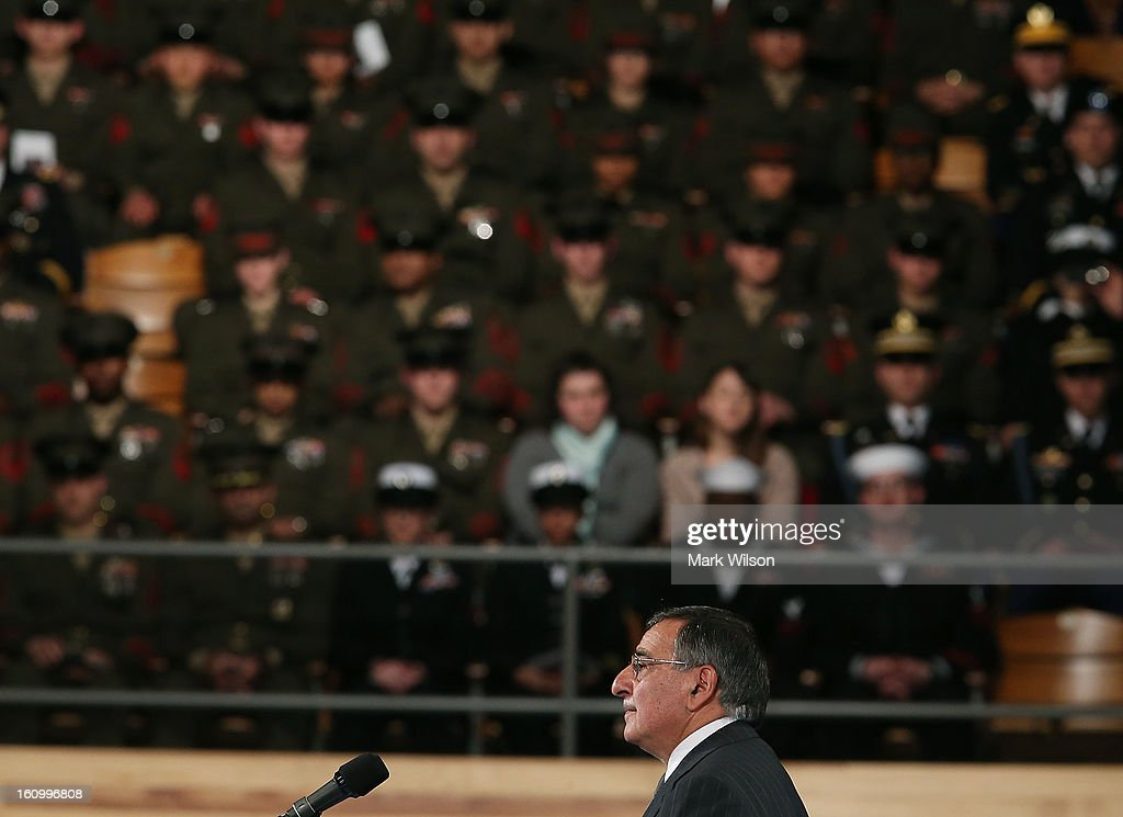 U.S. Defense Secretary Leon Panetta speaks during his Armed Service farewell ceremony at Joint Base Ft. Myer, on February 8, 2013 in Arlington, Virginia.If confirmed by the U.S. Senate, former U.S. Senator Chuck Hagel (R-NE),will replace Panetta.