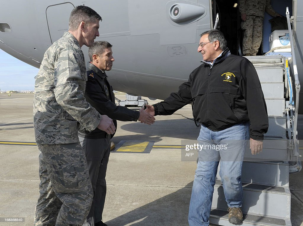 US Defense Secretary Leon Panetta (R) walks off of his plane and shakes hands with 10th Tanker Base Commander Brig. General Serdar Gulbas (C) and Colonel Christopher E. Craige, Commander of the 39th Air Base Wing at Incirlik Air Base, Turkey, on December 14, 2012. The United States will deploy two Patriot missile batteries to Turkey along with 400 troops to help defend its ally against potential threats from neighbouring Syria, US officials said on December 14. AFP PHOTO / POOL / Susan Walsh
