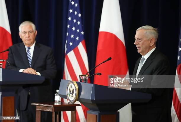 Defense Secretary Mattis speaks about North Korea while flanked by Secretary of State Rex Tillerson after a meeting of the USJapan Security...