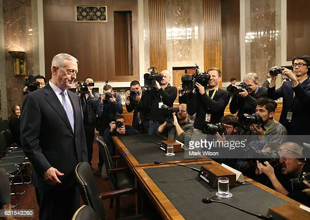 Defense Secretary nominee retired Marine Corps Gen James Mattis arrives at his Senate Armed Services Committee confirmation hearing on Capitol Hill...