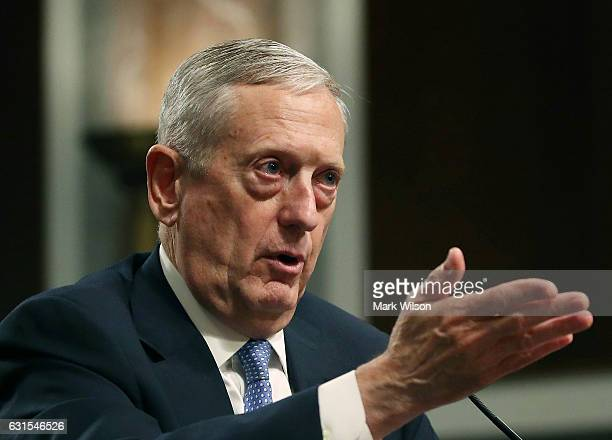 Defense Secretary nominee retired Marine Corps Gen James Mattis speaks during his Senate Armed Services Committee confirmation hearing on Capitol...