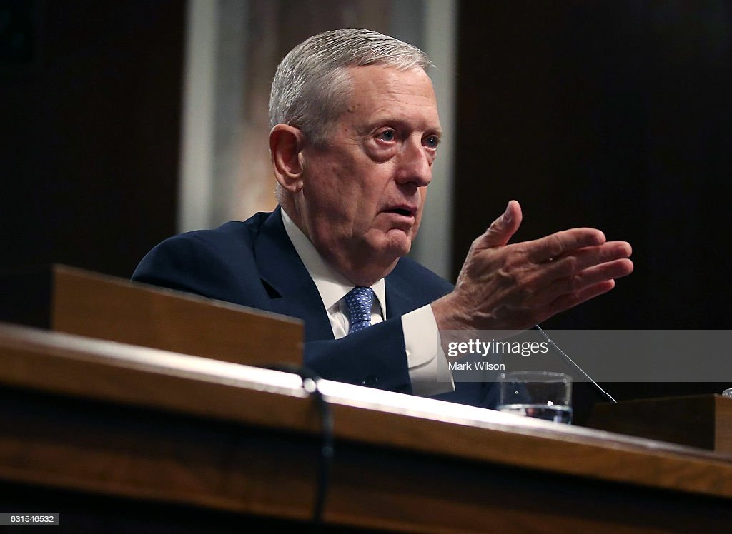 Defense Secretary nominee, retired Marine Corps Gen. James Mattis speaks during his Senate Armed Services Committee confirmation hearing on Capitol Hill, on January 12, 2017 in Washington, DC. Gen. Mattis will need a waiver from Congress to bypass a law prohibiting recently retired military officers from serving as Defense secretary.