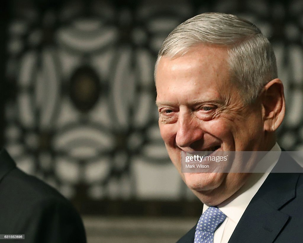 Defense Secretary nominee, retired Marine Corps Gen. James Mattis, smiles during his Senate Armed Services Committee confirmation hearing on Capitol Hill, on January 12, 2017 in Washington, DC. Gen. Mattis will need a waiver from Congress to bypass a law prohibiting recently retired military officers from serving as Defense secretary.