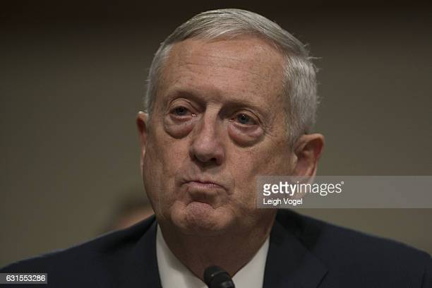 Defense Secretary nominee Retired Marine Corps Gen James Mattis speaks during his Senate Armed Services Committee confirmation hearing in the Dirksen...