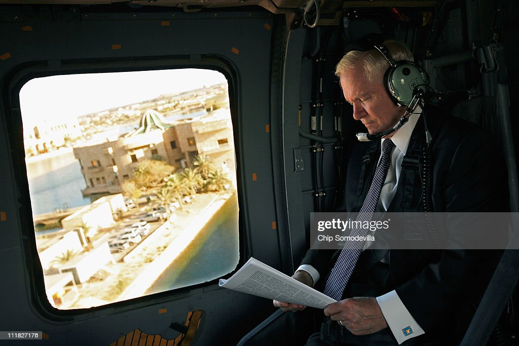 U.S. Defense Secretary Robert Gates flys on a Blackhawk helicopter back to Camp Victory after meeting with Iraq's president and prime minister April 7, 2011 in Baghdad, Iraq. Gates is meeting with military and civilian leaders during what he described as possibly his last trip to Iraq as defense secretary.