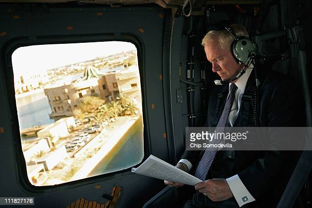 S Defense Secretary Robert Gates flys on a Blackhawk helicopter back to Camp Victory after meeting with Iraq's president and prime minister April 7...