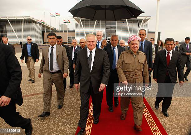 S Defense Secretary Robert Gates is accompanied by Kurdish Regional Government President Massoud Barzani after the two leaders held a oneonone...