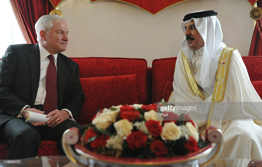 US Defense Secretary Robert Gates (L) meets with Bahrain's King Hamad bin Isa al-Khalifa at Sakhir Palace on March 12, 2011 in Manama, Bahrain. Gates made his unannounced visit amid continuing demonstrations from protesters demanding democracy for the Persian Gulf nation, as he sought to encourage open dialogue between the kingdom's rulers and the opposition movement.