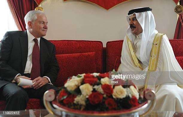 Defense Secretary Robert Gates meets with Bahrain's King Hamad bin Isa alKhalifa at Sakhir Palace on March 12 2011 in Manama Bahrain Gates made his...