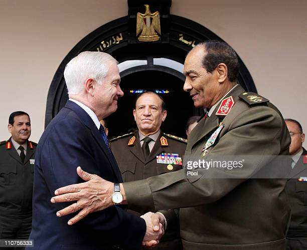 S Defense Secretary Robert Gates meets with Egyptian Armed Forces Chief of Staff Lt Gen Sami Enan and Field Marshal Hussein Tantawi the head of the...