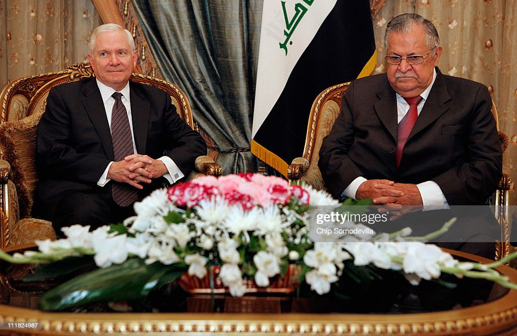 U.S. Defense Secretary Robert Gates (L) meets with Iraq President Jalali Talabani at the presidential palace April 7, 2011 in Baghdad, Iraq. Gates is meeting with military and civilian leaders during what he described as possibly his last trip to Iraq as defense secretary.