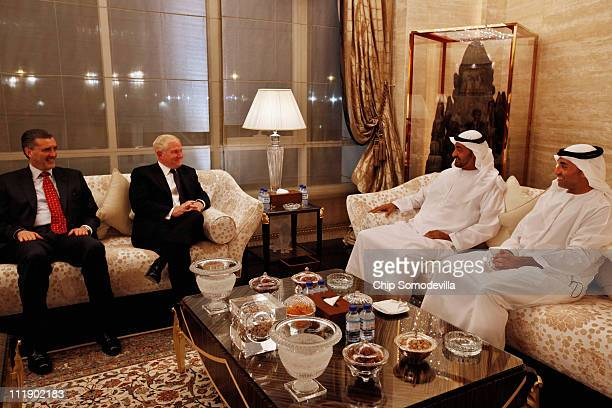 S Defense Secretary Robert Gates meets with Mohammed bin Zayed bin Sultan Al Nahyan the Crown Prince of Abu Dhabi and Deputy Supreme Commander of the...