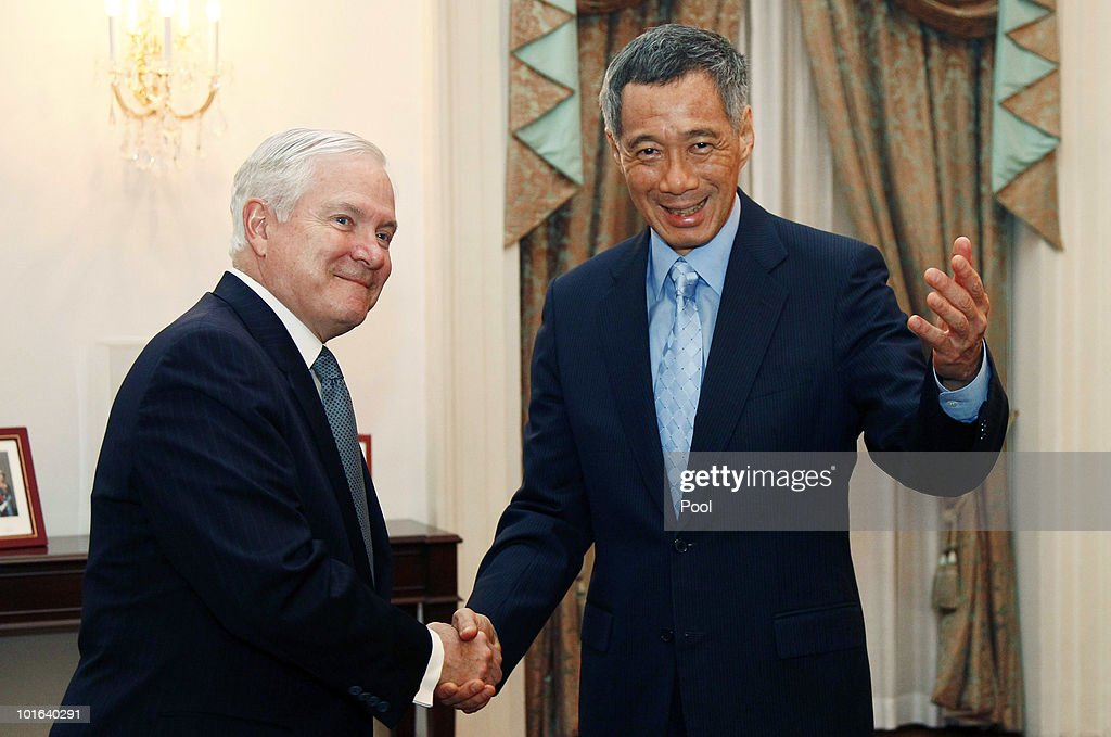 U.S. Defense Secretary Robert M. Gates (L) meets with Singapore Prime Minister Lee Hsien Loong at Istana, or the presidential palace, on June 5, 2010 in Singapore. Gates is visiting five countries in his participation with the major Asian security conference in Singapore. In addition to Singapore, the secretary will travel to Azerbaijan, England, Belgium and Germany.