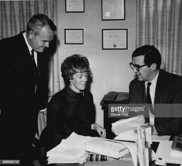 Defense Team Confers with Mrs Mildred Kaiser Philip Roan left assistant public defender and John Kane Jr public defender Credit Denver Post