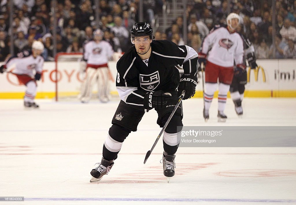 Defenseman Drew Doughty #8 of the Los Angeles Kings skates after the puck in the Kings zone during the NHL game against the Columbus Blue Jackets at Staples Center on February 15, 2013 in Los Angeles, California. The Kings defeated the Blue Jackets 2-1.