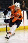 Defenseman Dustin Kohn of the Bridgeport Sound Tigers skates during the NHL game against the Portland Pirates on January 9 2008 at the Arena at...