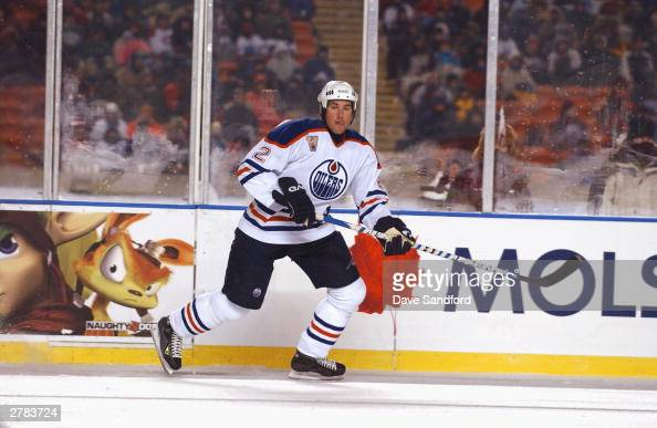 Defenseman Eric Brewer of the Edmonton Oilers skates on the ice during the game against the Montreal Canadiens at the Molson Canadien Heritage...