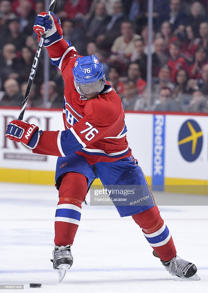 Defenseman <a gi-track='captionPersonalityLinkClicked' href=/galleries/search?phrase=P.K.+Subban&family=editorial&specificpeople=714418 ng-click='$event.stopPropagation()'>P.K. Subban</a> #76 of the Montreal Canadiens winds up to take a shot against the Ottawa Senators during the NHL game on March 13, 2013 at the Bell Centre in Montreal, Quebec, Canada.