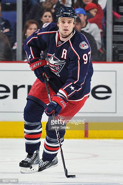 Defenseman Rostislav Klesla of the Columbus Blue Jackets skates with the puck against the Los Angeles Kings on October 17 2009 at Nationwide Arena in...