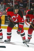 Defenseman Scott Stevens of the New Jersey Devils on the ice during the game against the San Jose Sharks at the Continental Airlines Arena on...