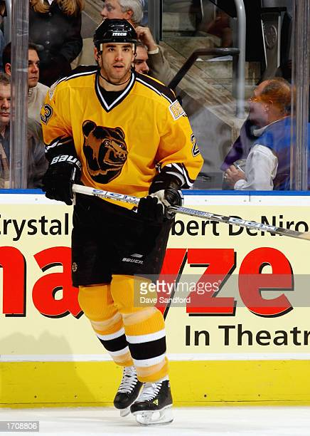 Defenseman Sean Brown of the Boston Bruins skates against the Toronto Maple Leafs during the NHL game at the Air Canada Center on November 19 2002 in...