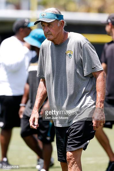Defensive Assistant Monte Kiffin of the Jacksonville Jaguars on the field during Training Camp at Florida Blue Health and Wellness Practice Fields on...