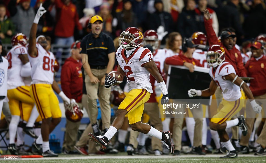 Defensive back Adoree' Jackson #2 of the USC Trojans reacts after making an interception in the fourth quarter against the Washington Huskies on November 12, 2016 at Husky Stadium in Seattle, Washington. The Trojans defeated the Huskies 24-13.