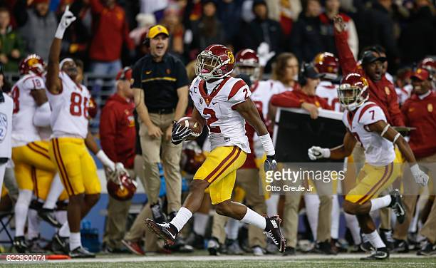 Defensive back Adoree' Jackson of the USC Trojans reacts after making an interception in the fourth quarter against the Washington Huskies on...