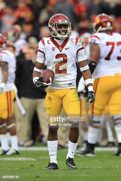 Defensive back Adoree' Jackson of the USC Trojans reacts against the Penn State Nittany Lions during the 2017 Rose Bowl Game presented by...
