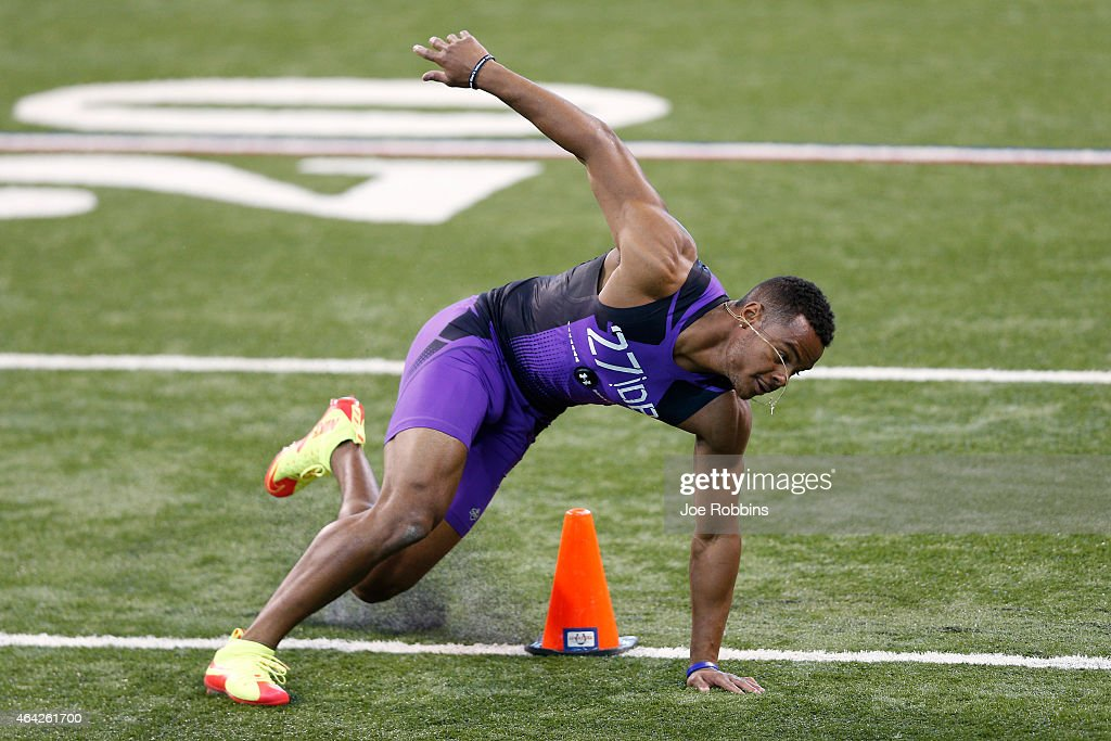 Defensive back Anthony Jefferson of UCLA competes during the 2015 NFL Scouting Combine at Lucas Oil Stadium on February 23 2015 in Indianapolis...