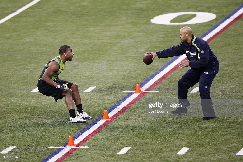 Defensive back Antwuan Reed of Pittsburgh participates in a drill during the 2012 NFL Combine at Lucas Oil Stadium on February 28, 2012 in Indianapolis, Indiana.