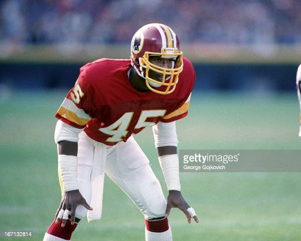 Defensive back Barry Wilburn of the Washington Redskins looks on from the field during a game against the Cleveland Browns at Municipal Stadium on...