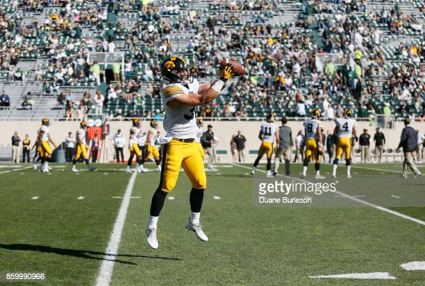 Defensive back Brandon Snyder of the Iowa Hawkeyes warms up for a game against the Michigan State Spartans at Spartan Stadium on September 30 2017 in...