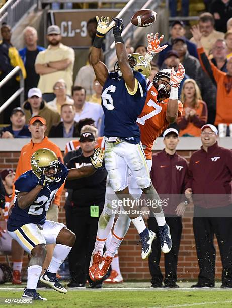 Defensive back Chris Milton of the Georgia Tech Yellow Jackets breaks up the pass intended for tight end Bucky Hodges of the Virginia Tech Hokies in...