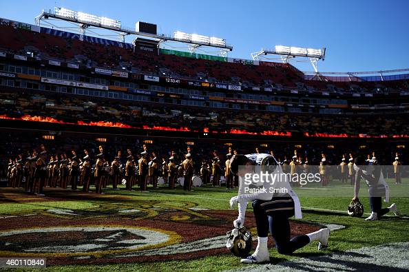 Defensive back Cody Davis of the St Louis Rams has a moment to himself before playing the Washington Redskins at FedExField on December 7 2014 in...