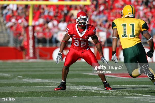 Defensive back Courtney Greene of the Rutgers University Scarlett Knights in coverage against the Norfolk State Spartans on September 15 2007 at...