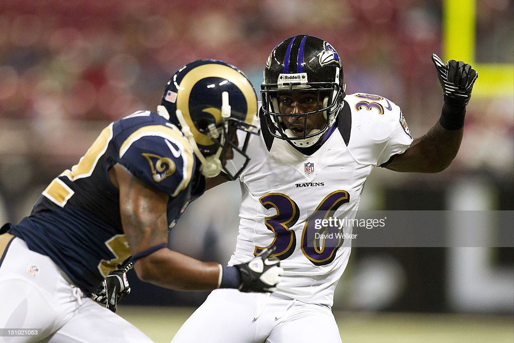 defensive back Danny Gorrer #36 of the Baltimore Ravens tries to stop a St. Louis Rams punt team member during the game against the St. Louis Rams at the Edward Jones Dome on August 30, 2012 in St. Louis, Missouri. The St. Louis Rams defeated the Baltimore Ravens 31-17.