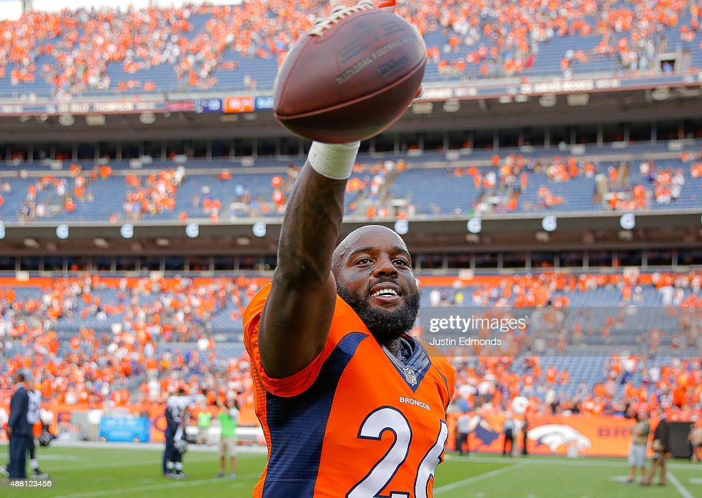 Defensive back Darian Stewart of the Denver Broncos walks off the field holding the ball in intercepted to end the game after a game between the...