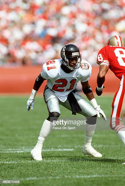 Defensive back Deion Sanders of the Atlanta Falcons in action against the San Francisco 49ers during an NFL football game September 23 1990 at...