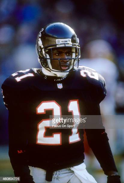Defensive back Deion Sanders of the Atlanta Falcons in action catches a punt against the Miami Dolphins October 11 1992 during an NFL football game...