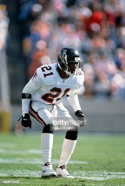 Defensive back Deion Sanders of the Atlanta Falcons in action during an NFL football game circa 1993 Sanders played for the Falcons from 198993