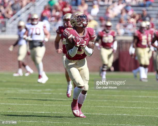 Defensive Back Derwin James of the Florida State Seminoles on the receiving end of a punt during the annual Garnet and Gold Spring Football game at...