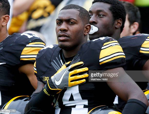 Defensive back Desmond King of the Iowa Hawkeyes before the matchup against the Northwestern Wildcats on October 1 2016 at Kinnick Stadium in Iowa...