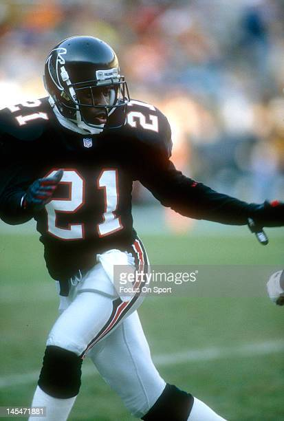 Defensive back Dion Sanders of the Atlanta Falcons in action during an NFL football game circa 1993 at AtlantaFulton County Stadium in Atlanta Georia...