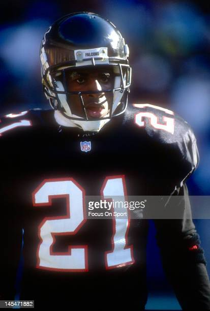 Defensive back Dion Sanders of the Atlanta Falcons looks on during an NFL football game circa 1993 at AtlantaFulton County Stadium in Atlanta Georia...