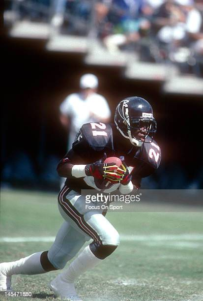 Defensive back Dion Sanders of the Atlanta Falcons returns a punt against the New Orleans Saints during an NFL football game September 29 1991 at...